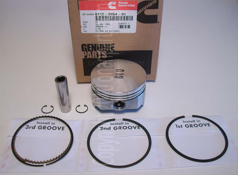 "Onan 112-0264-01 +.010""Oversize Piston Kit B & P Series"