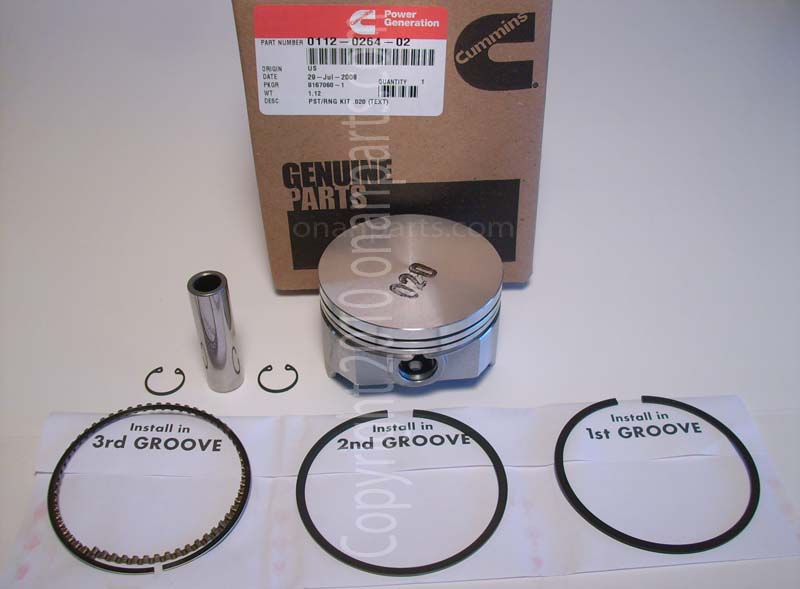 "Onan 112-0264-02 +.020"" Oversize Piston Kit B & P Series"