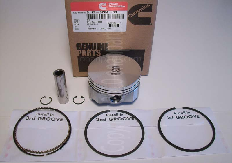 "Onan 112-0264-03 +.030"" Oversize Piston Kit B & P Series"