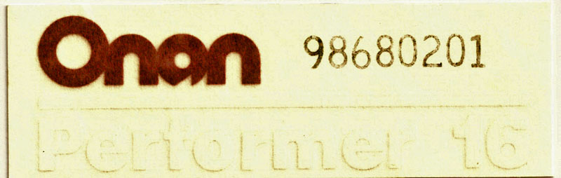 98-6802-01 Onan Performer 16 Model Label